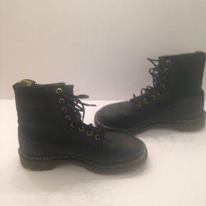 Dr. Martens black leather combat lace up boot